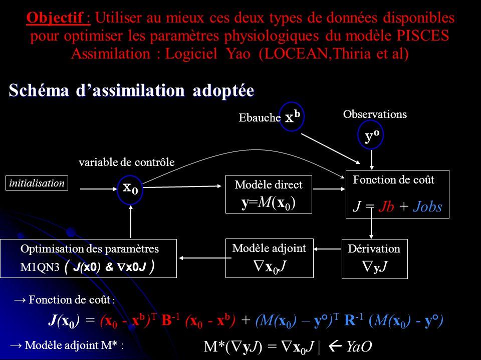 Fonction de coût : Modèle direct y=M(x 0 ) Fonction de coût J = Jb + Jobs Modèle adjoint x 0 J Dérivation y J x0x0 Optimisation des paramètres M1QN3 (