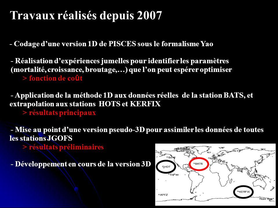 8 Plan de la thèse Travaux réalisés depuis 2007 - Codage dune version 1D de PISCES sous le formalisme Yao - - Réalisation dexpériences jumelles pour i