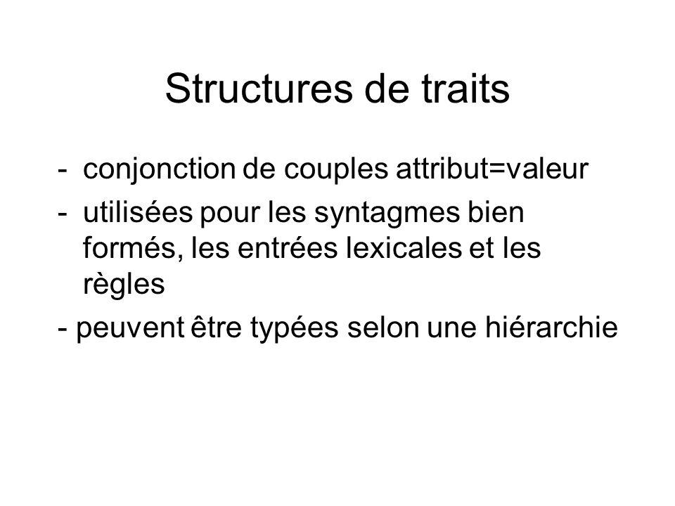 Structures de traits -conjonction de couples attribut=valeur -utilisées pour les syntagmes bien formés, les entrées lexicales et les règles - peuvent