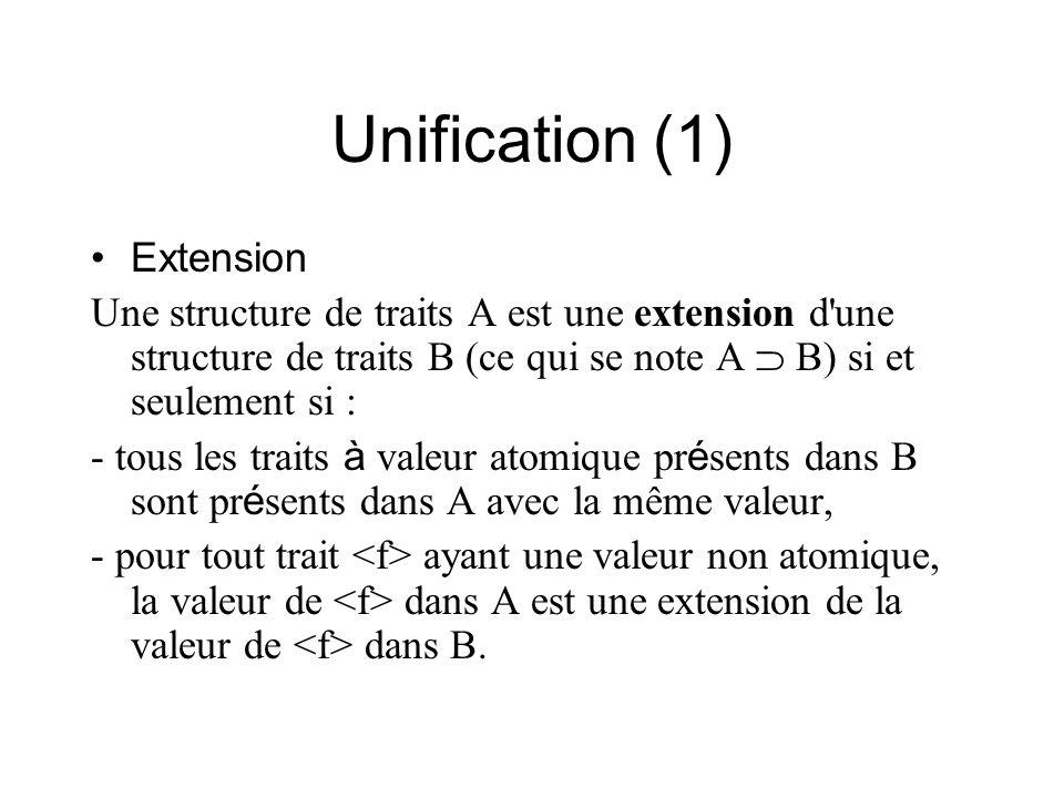 Unification (1) Extension Une structure de traits A est une extension d'une structure de traits B (ce qui se note A B) si et seulement si : - tous les