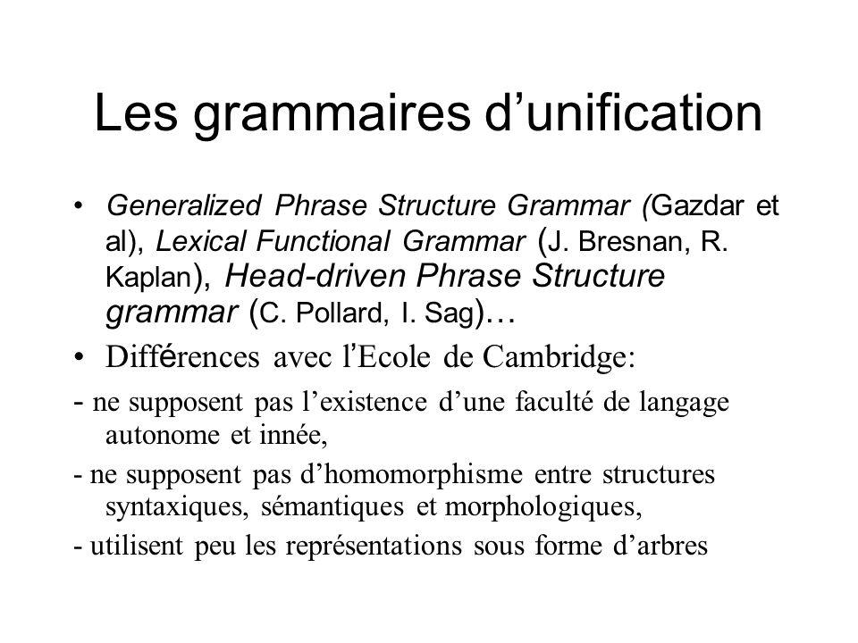 Les grammaires dunification Generalized Phrase Structure Grammar (Gazdar et al), Lexical Functional Grammar ( J. Bresnan, R. Kaplan ), Head-driven Phr