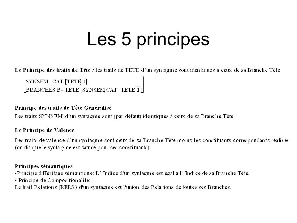 Les 5 principes