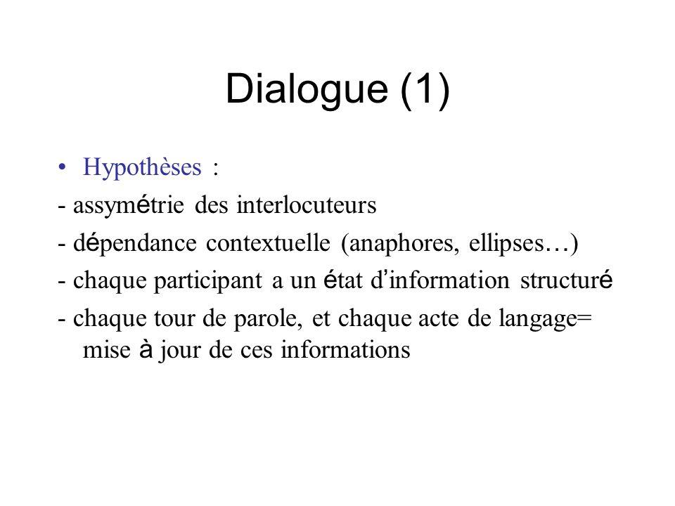 Dialogue (1) Hypothèses : - assym é trie des interlocuteurs - d é pendance contextuelle (anaphores, ellipses … ) - chaque participant a un é tat d inf