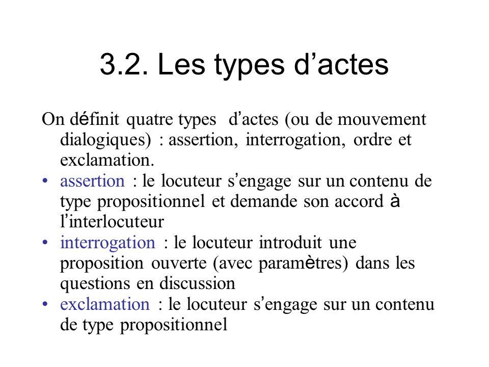 3.2. Les types dactes On d é finit quatre types d actes (ou de mouvement dialogiques) : assertion, interrogation, ordre et exclamation. assertion : le