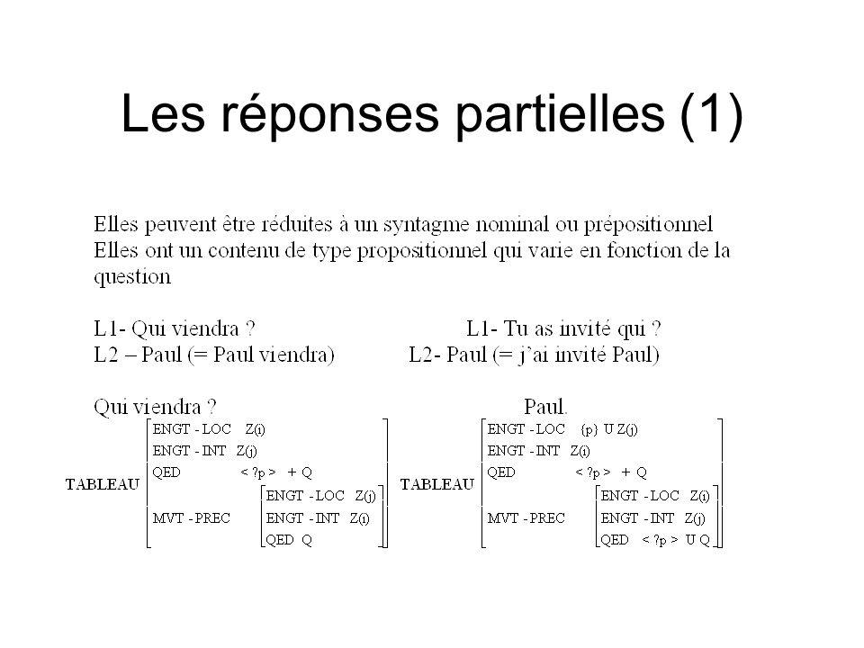 Les réponses partielles (1)
