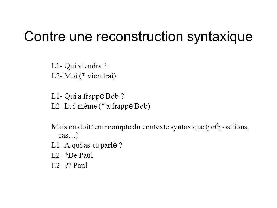 Contre une reconstruction syntaxique L1- Qui viendra ? L2- Moi (* viendrai) L1- Qui a frapp é Bob ? L2- Lui-même (* a frapp é Bob) Mais on doit tenir