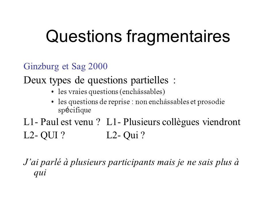 Questions fragmentaires Ginzburg et Sag 2000 Deux types de questions partielles : les vraies questions (enchâssables) les questions de reprise : non e