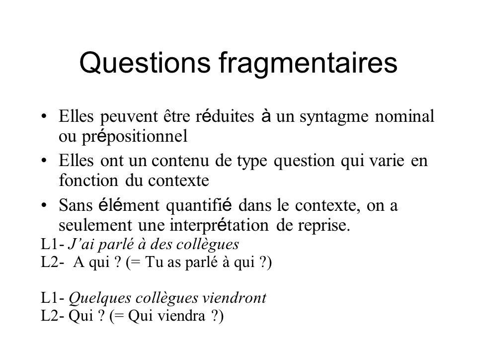 Questions fragmentaires Elles peuvent être r é duites à un syntagme nominal ou pr é positionnel Elles ont un contenu de type question qui varie en fon