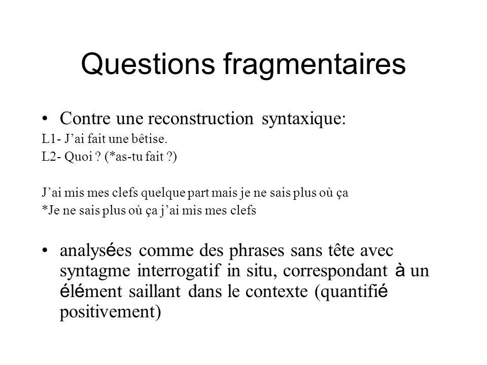 Questions fragmentaires Contre une reconstruction syntaxique: L1- Jai fait une bêtise. L2- Quoi ? (*as-tu fait ?) Jai mis mes clefs quelque part mais