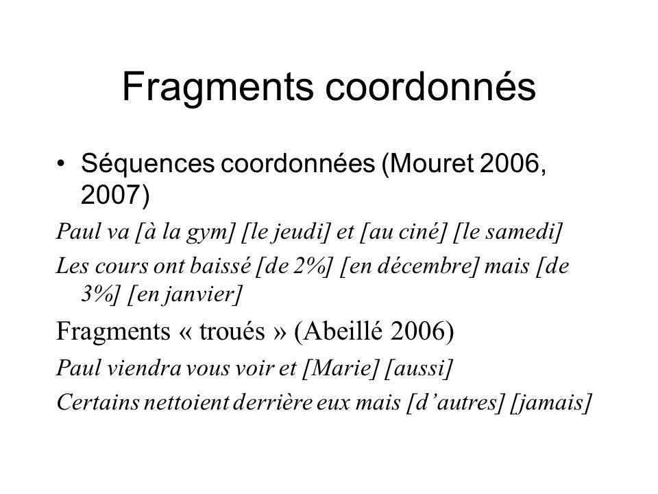 Fragments coordonnés Séquences coordonnées (Mouret 2006, 2007) Paul va [à la gym] [le jeudi] et [au ciné] [le samedi] Les cours ont baissé [de 2%] [en