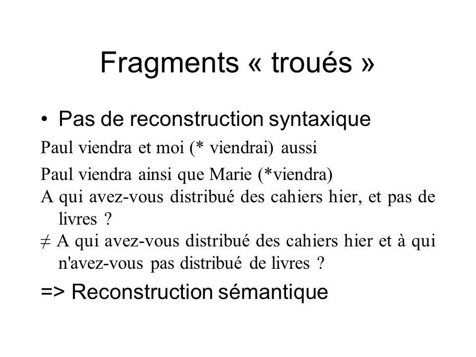Fragments « troués » Pas de reconstruction syntaxique Paul viendra et moi (* viendrai) aussi Paul viendra ainsi que Marie (*viendra) A qui avez-vous d
