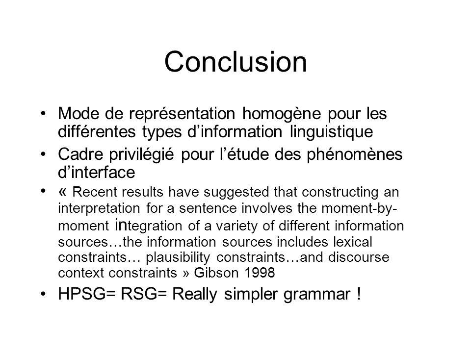 Conclusion Mode de représentation homogène pour les différentes types dinformation linguistique Cadre privilégié pour létude des phénomènes dinterface
