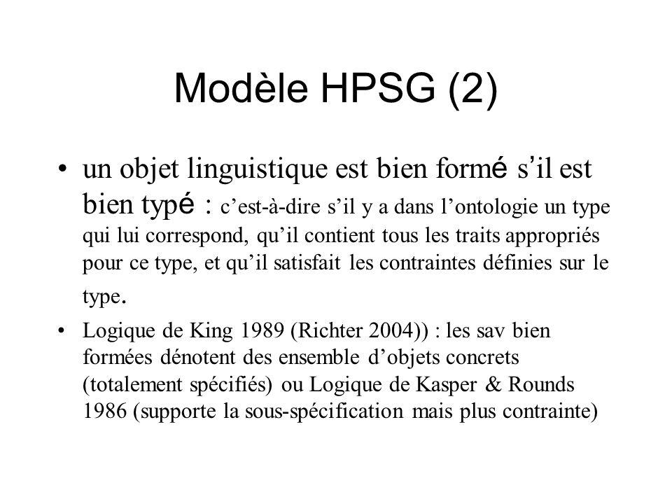 Modèle HPSG (2) un objet linguistique est bien form é s il est bien typ é : cest-à-dire sil y a dans lontologie un type qui lui correspond, quil conti