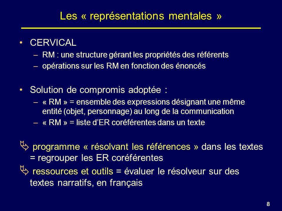 88 Les « représentations mentales » CERVICAL –RM : une structure gérant les propriétés des référents –opérations sur les RM en fonction des énoncés Solution de compromis adoptée : –« RM » = ensemble des expressions désignant une même entité (objet, personnage) au long de la communication –« RM » = liste dER coréférentes dans un texte programme « résolvant les références » dans les textes = regrouper les ER coréférentes ressources et outils = évaluer le résolveur sur des textes narratifs, en français