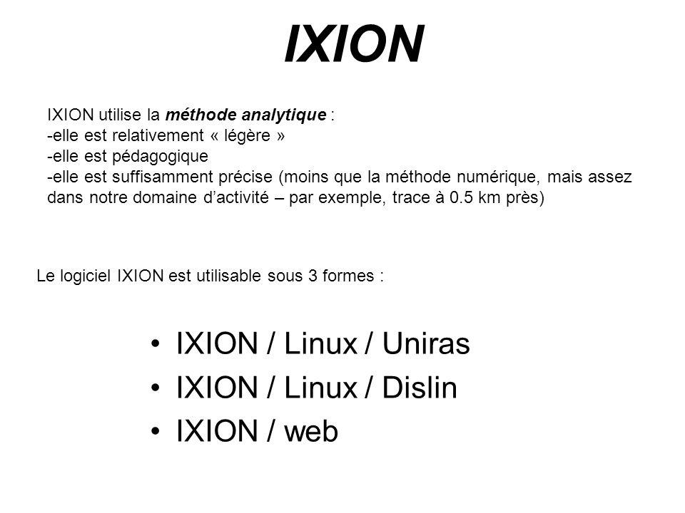 IXION IXION / Linux / Uniras IXION / Linux / Dislin IXION / web IXION utilise la méthode analytique : -elle est relativement « légère » -elle est péda