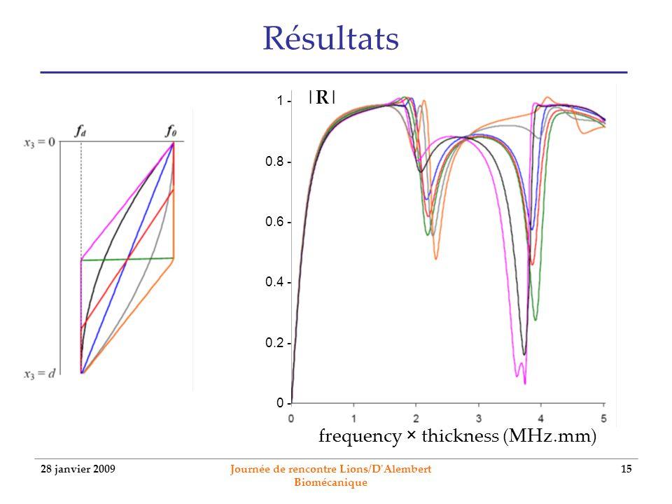 28 janvier 2009 Journée de rencontre Lions/D'Alembert Biomécanique 15 Résultats frequency × thickness (MHz.mm) 1 - 0.8 - 0.6 - 0.4 - 0.2 - 0 - |R|