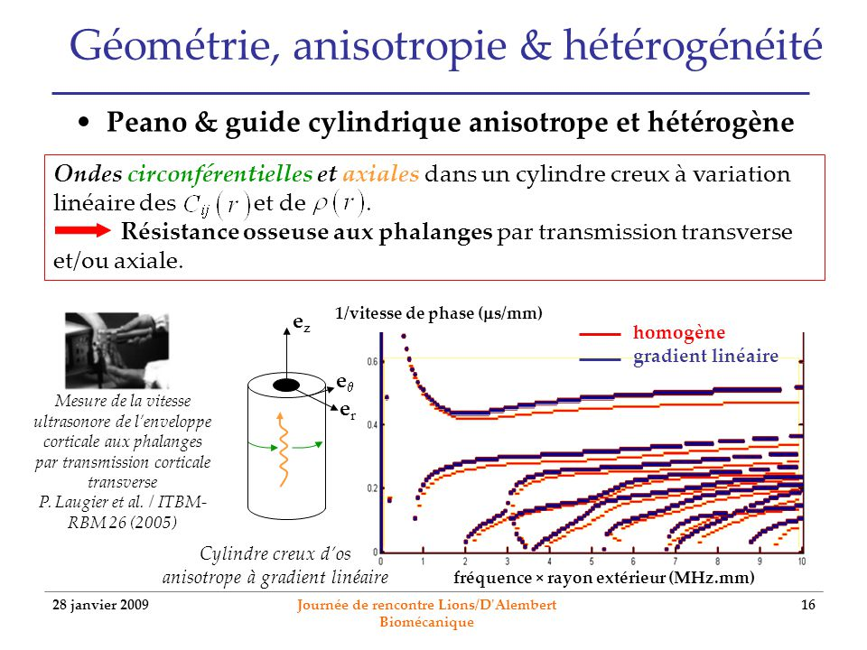 28 janvier 2009 Journée de rencontre Lions/D'Alembert Biomécanique 16 Géométrie, anisotropie & hétérogénéité Peano & guide cylindrique anisotrope et h