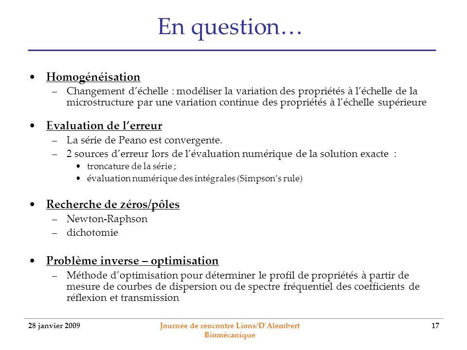 28 janvier 2009 Journée de rencontre Lions/D'Alembert Biomécanique 17 En question… Homogénéisation –Changement déchelle : modéliser la variation des p