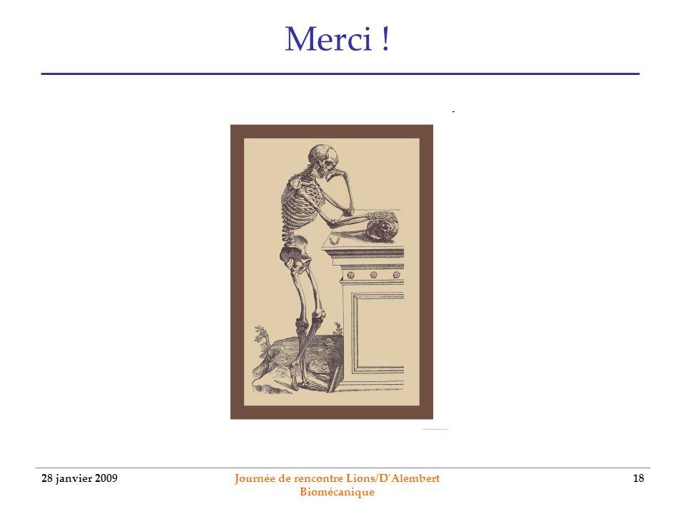 28 janvier 2009 Journée de rencontre Lions/D'Alembert Biomécanique 18 Merci !