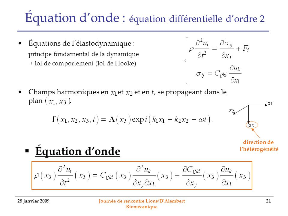 28 janvier 2009 Journée de rencontre Lions/D'Alembert Biomécanique 21 Équation donde : équation différentielle dordre 2 Équations de lélastodynamique