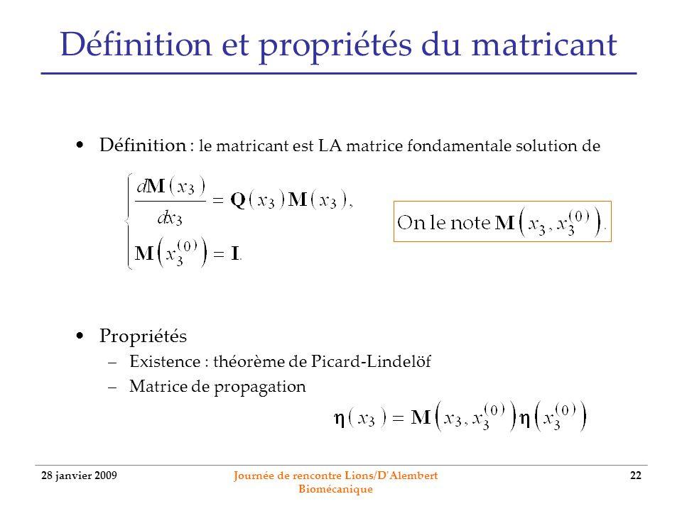 28 janvier 2009 Journée de rencontre Lions/D'Alembert Biomécanique 22 Définition et propriétés du matricant Définition : le matricant est LA matrice f
