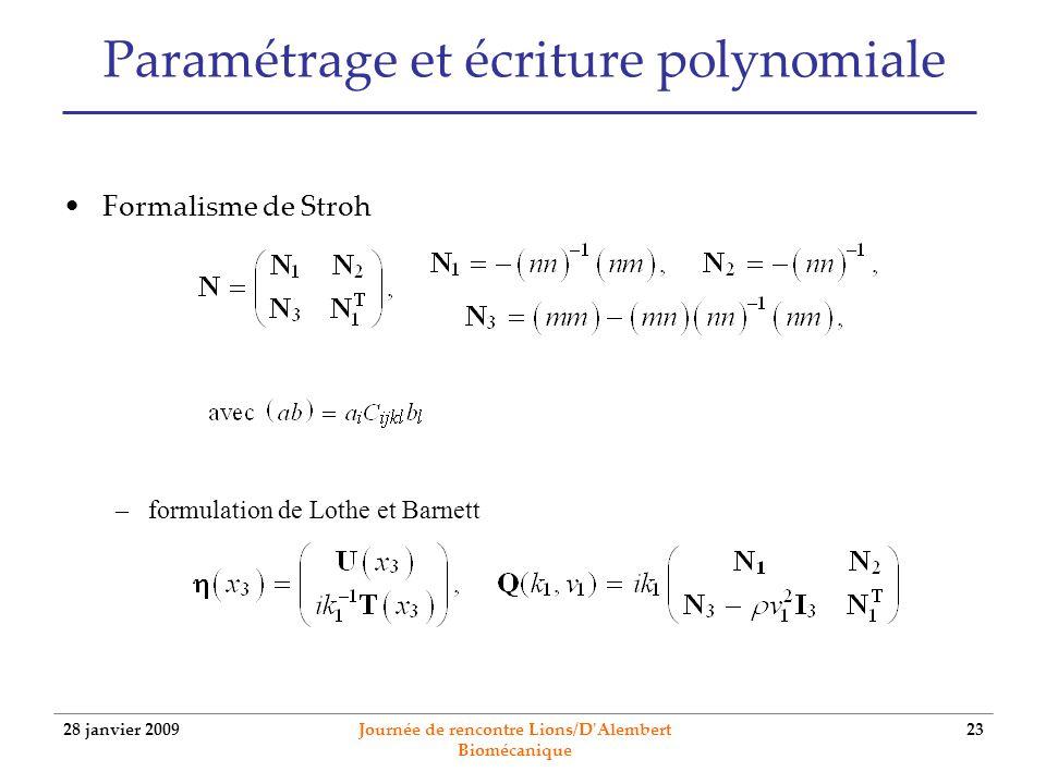 28 janvier 2009 Journée de rencontre Lions/D'Alembert Biomécanique 23 Paramétrage et écriture polynomiale Formalisme de Stroh –formulation de Lothe et