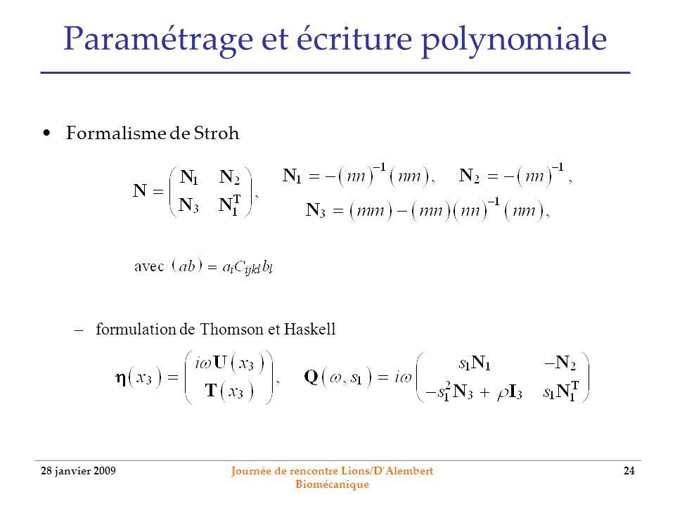 28 janvier 2009 Journée de rencontre Lions/D'Alembert Biomécanique 24 Paramétrage et écriture polynomiale Formalisme de Stroh –formulation de Thomson