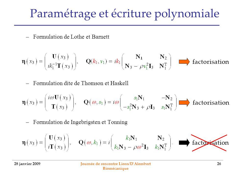 28 janvier 2009 Journée de rencontre Lions/D'Alembert Biomécanique 26 Paramétrage et écriture polynomiale –Formulation de Lothe et Barnett –Formulatio