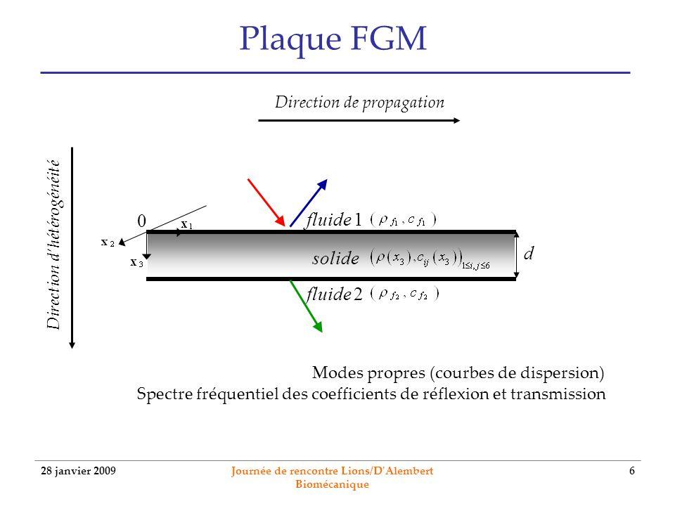 28 janvier 2009 Journée de rencontre Lions/D'Alembert Biomécanique 6 Plaque FGM solide 0 d fluide 1 fluide 2 Direction de propagation Direction dhétér