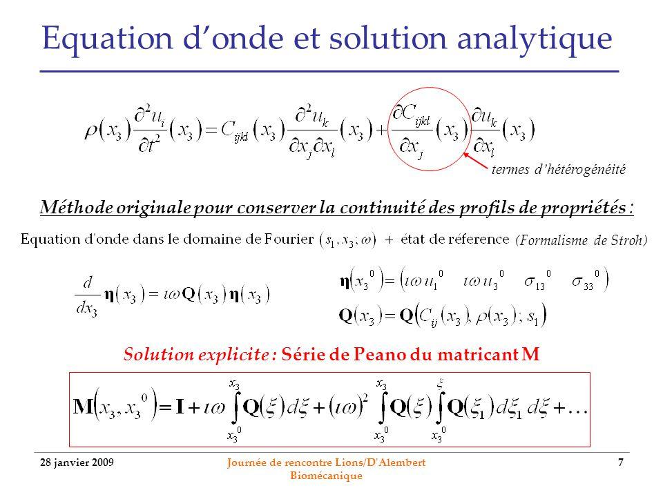 28 janvier 2009 Journée de rencontre Lions/D'Alembert Biomécanique 7 Equation donde et solution analytique termes dhétérogénéité Méthode originale pou