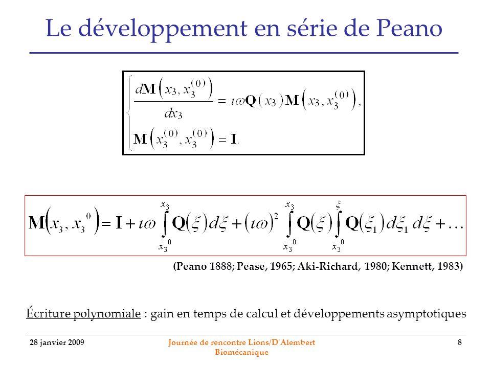 28 janvier 2009 Journée de rencontre Lions/D Alembert Biomécanique 9 Le développement en série de Peano Schéma récursif de construction : méthode des approximations successives Convergence de la série : Si chaque composante de est une fonction bornée sur lintervalle détude [a,b] alors la série est uniformément convergente (Kennett, 1983).