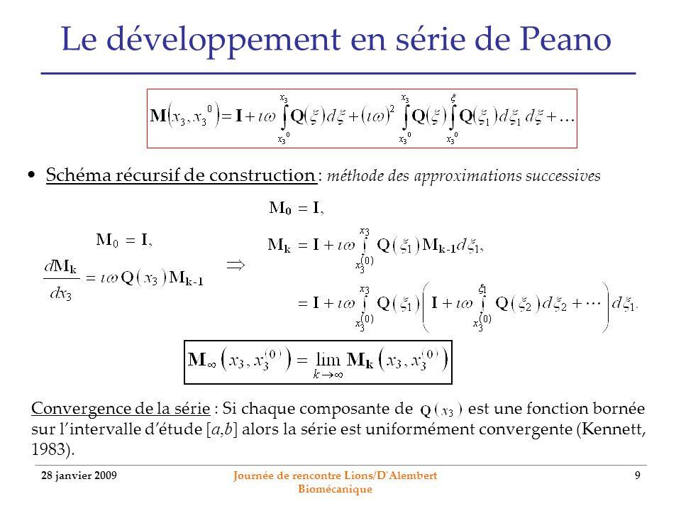 28 janvier 2009 Journée de rencontre Lions/D'Alembert Biomécanique 9 Le développement en série de Peano Schéma récursif de construction : méthode des