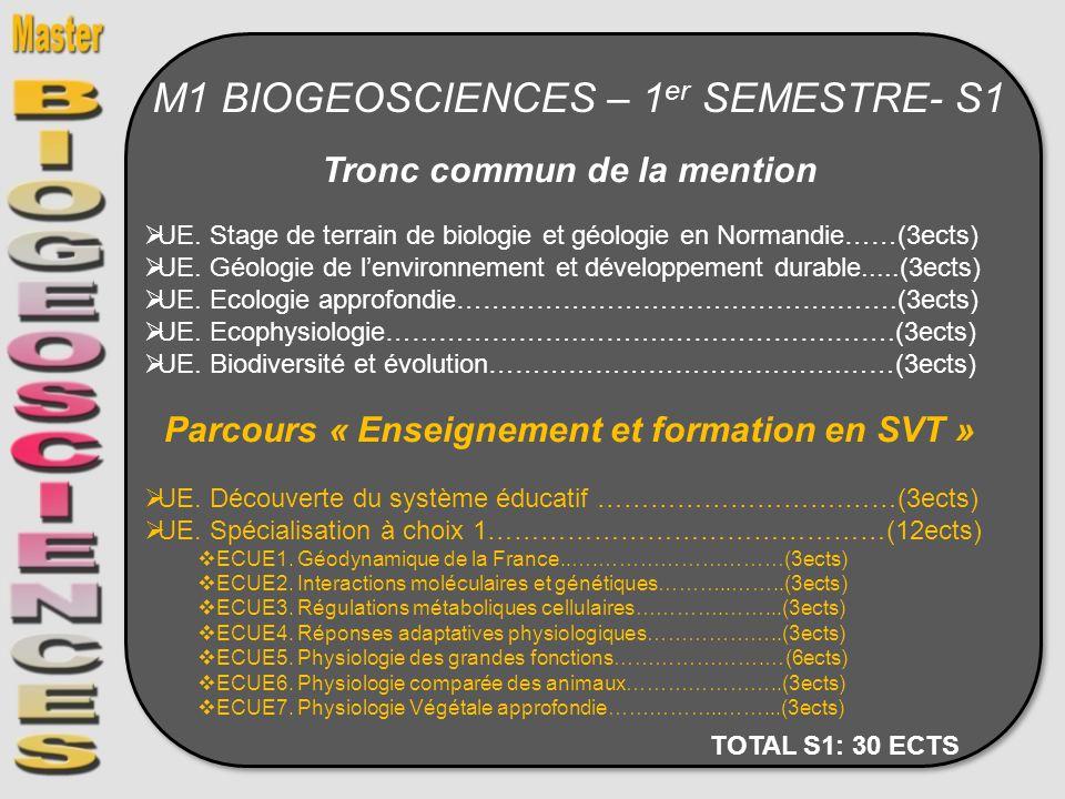 M1 BIOGEOSCIENCES – 1 er SEMESTRE- S1 Tronc commun de la mention UE. Stage de terrain de biologie et géologie en Normandie……(3ects) UE. Géologie de le