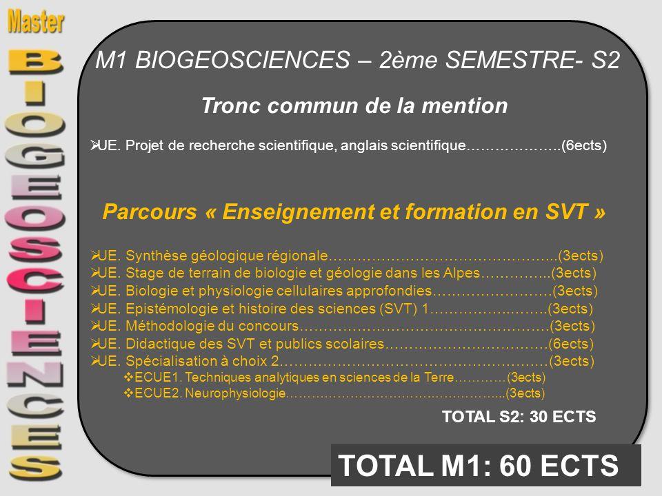 M1 BIOGEOSCIENCES – 2ème SEMESTRE- S2 Tronc commun de la mention UE. Projet de recherche scientifique, anglais scientifique………………..(6ects) Parcours «