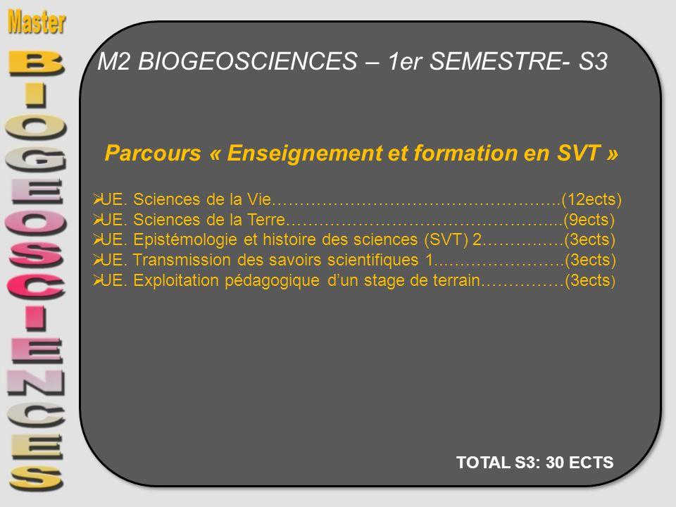M2 BIOGEOSCIENCES – 1er SEMESTRE- S3 Parcours « Enseignement et formation en SVT » UE. Sciences de la Vie……………………………….……….…..(12ects) UE. Sciences de