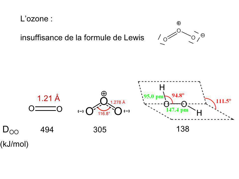 O O 1.21 Å D OO (kJ/mol) 494305 138 Lozone : insuffisance de la formule de Lewis