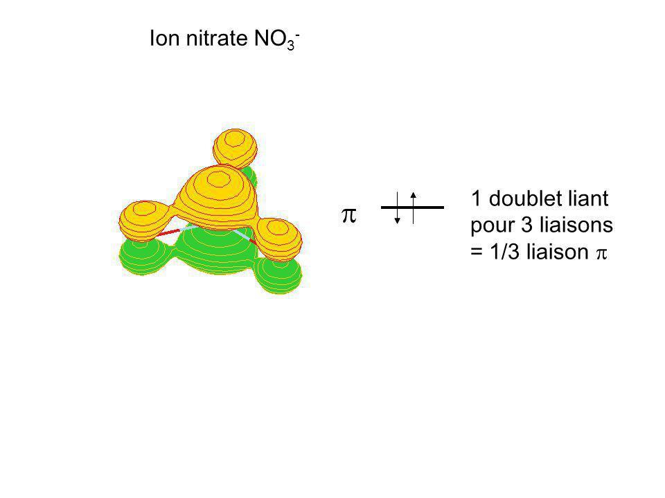 Ion nitrate NO 3 - 1 doublet liant pour 3 liaisons = 1/3 liaison