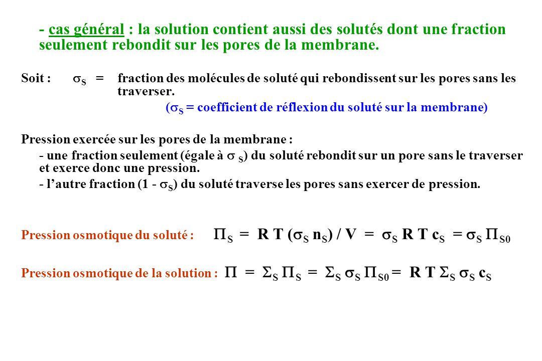 c) 3 ème cas : membrane insuffisamment déformable (ou insuffisamment mobile) Membrane insuffisamment extensible C 2 < C 2 < C eq < C 1 < C 1 Membrane insuffisamment mobile situation déquilibre : Q = 0 car Q D = - Q F On observe une variation des volumes (et donc des concentrations) jusquà la limite possible pour les volumes, puis apparaît une différence de pression hydrostatique P [ égale à = R T (C 2 – C 1 ) < P 0 ] qui sexerce sur la membrane et peut la rompre (cf globule rouge : turgescence jusquà la sphérocytose, puis apparition de P pouvant entraîner lhémolyse).