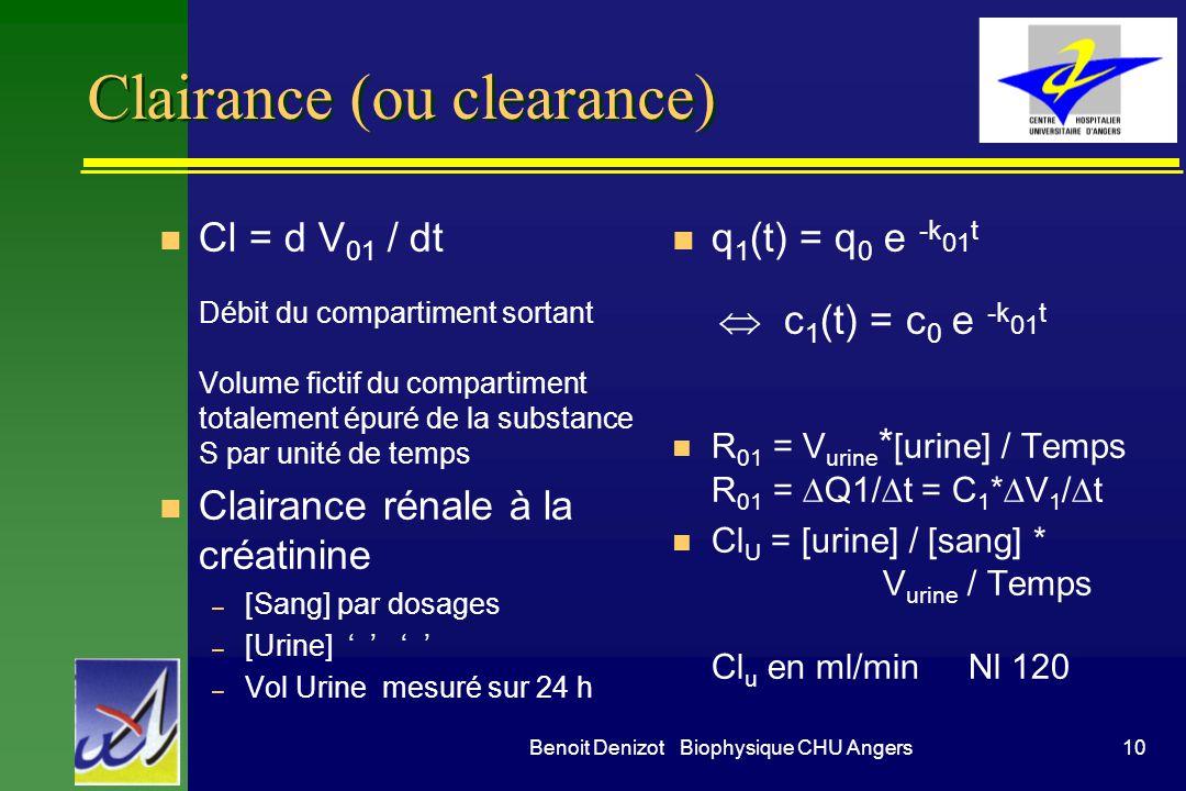 10Benoit Denizot Biophysique CHU Angers Clairance (ou clearance) n Cl = d V 01 / dt Débit du compartiment sortant Volume fictif du compartiment totale