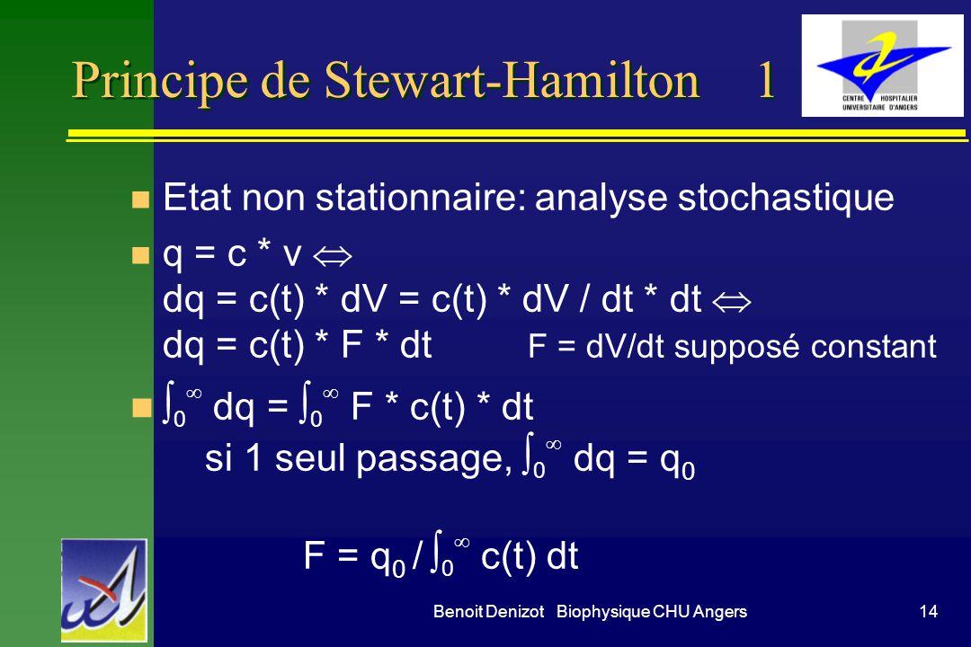 14Benoit Denizot Biophysique CHU Angers Principe de Stewart-Hamilton 1 n Etat non stationnaire: analyse stochastique q = c * v dq = c(t) * dV = c(t) *