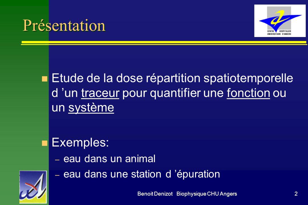 2Benoit Denizot Biophysique CHU Angers Présentation n Etude de la dose répartition spatiotemporelle d un traceur pour quantifier une fonction ou un sy
