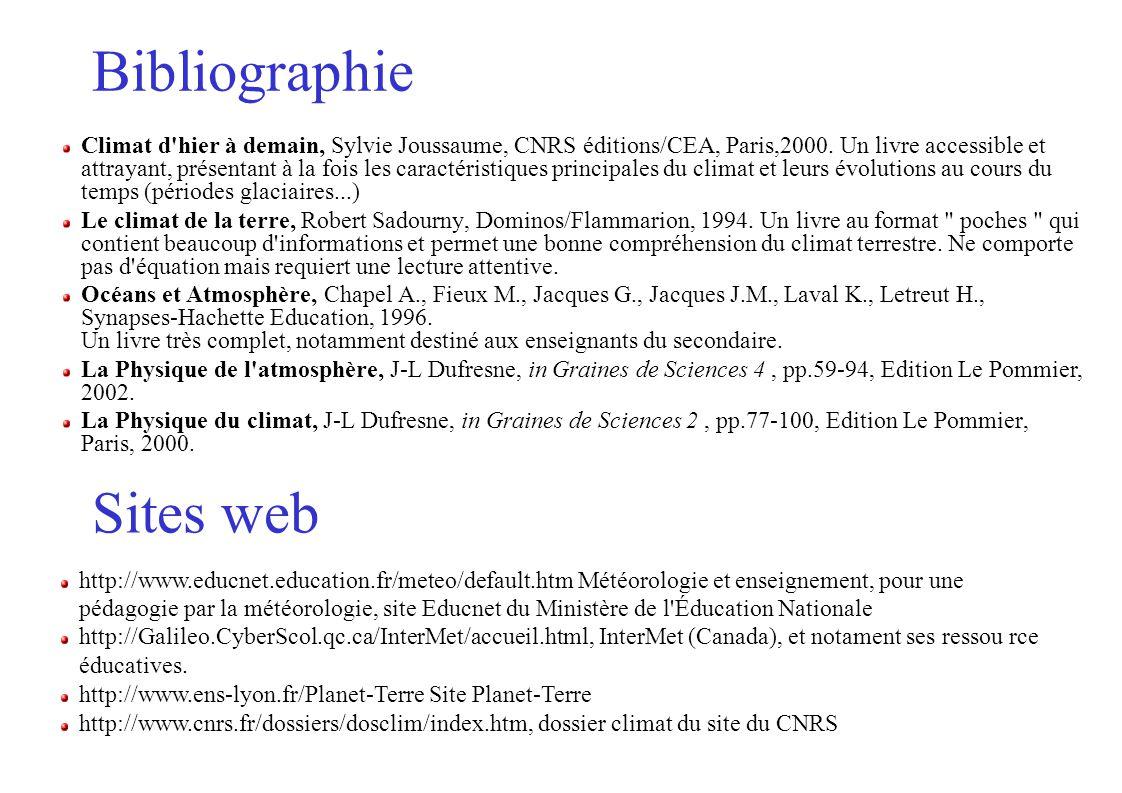 Bibliographie Climat d hier à demain, Sylvie Joussaume, CNRS éditions/CEA, Paris,2000.