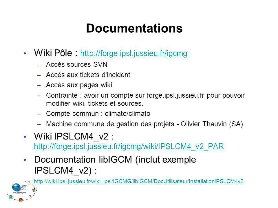 Documentations Wiki Pôle : http://forge.ipsl.jussieu.fr/igcmg http://forge.ipsl.jussieu.fr/igcmg – Accès sources SVN – Accès aux tickets dincident – A
