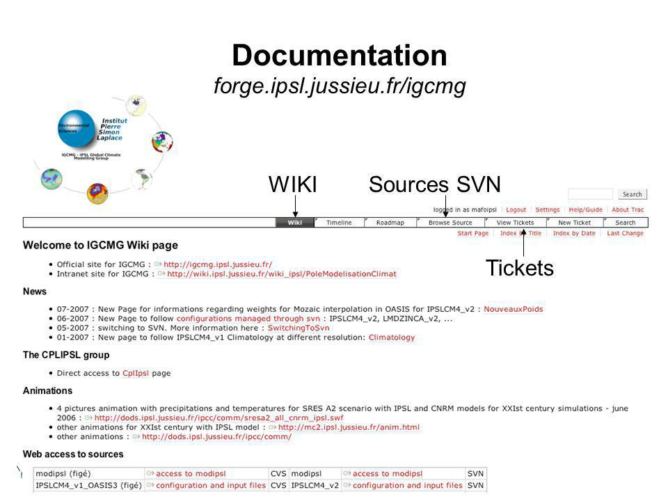 Documentation forge.ipsl.jussieu.fr/igcmg WIKISources SVN Tickets