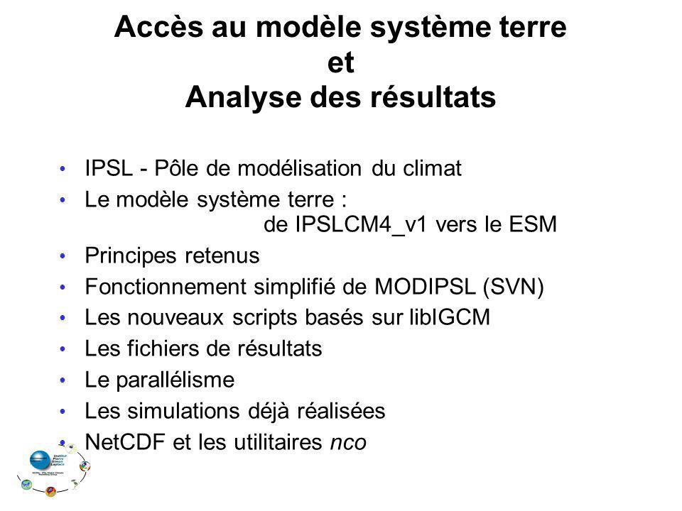 Accès au modèle système terre et Analyse des résultats IPSL - Pôle de modélisation du climat Le modèle système terre : de IPSLCM4_v1 vers le ESM Princ