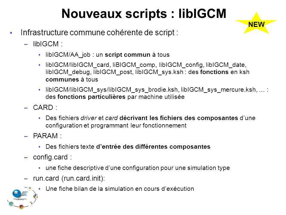 Nouveaux scripts : libIGCM Infrastructure commune cohérente de script : – libIGCM : libIGCM/AA_job : un script commun à tous libIGCM/libIGCM_card, liB