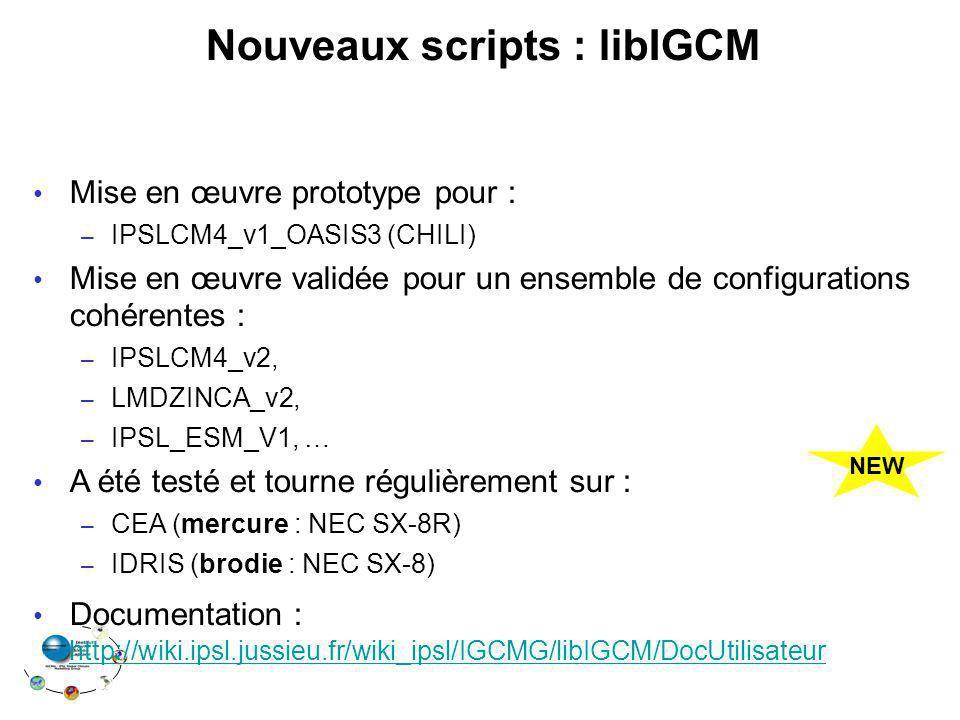 Nouveaux scripts : libIGCM Mise en œuvre prototype pour : – IPSLCM4_v1_OASIS3 (CHILI) Mise en œuvre validée pour un ensemble de configurations cohéren