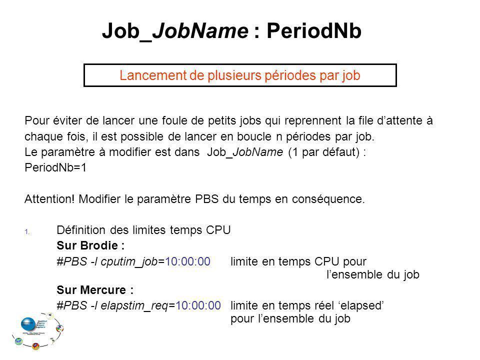 Job_JobName : PeriodNb Pour éviter de lancer une foule de petits jobs qui reprennent la file dattente à chaque fois, il est possible de lancer en bouc