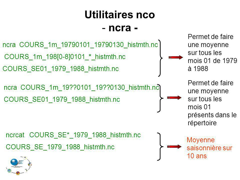 ncra COURS_1m_19??0101_19??0130_histmth.nc COURS_SE01_1979_1988_histmth.nc ncra COURS_1m_19790101_19790130_histmth.nc COURS_1m_198[0-8]0101_*_histmth.