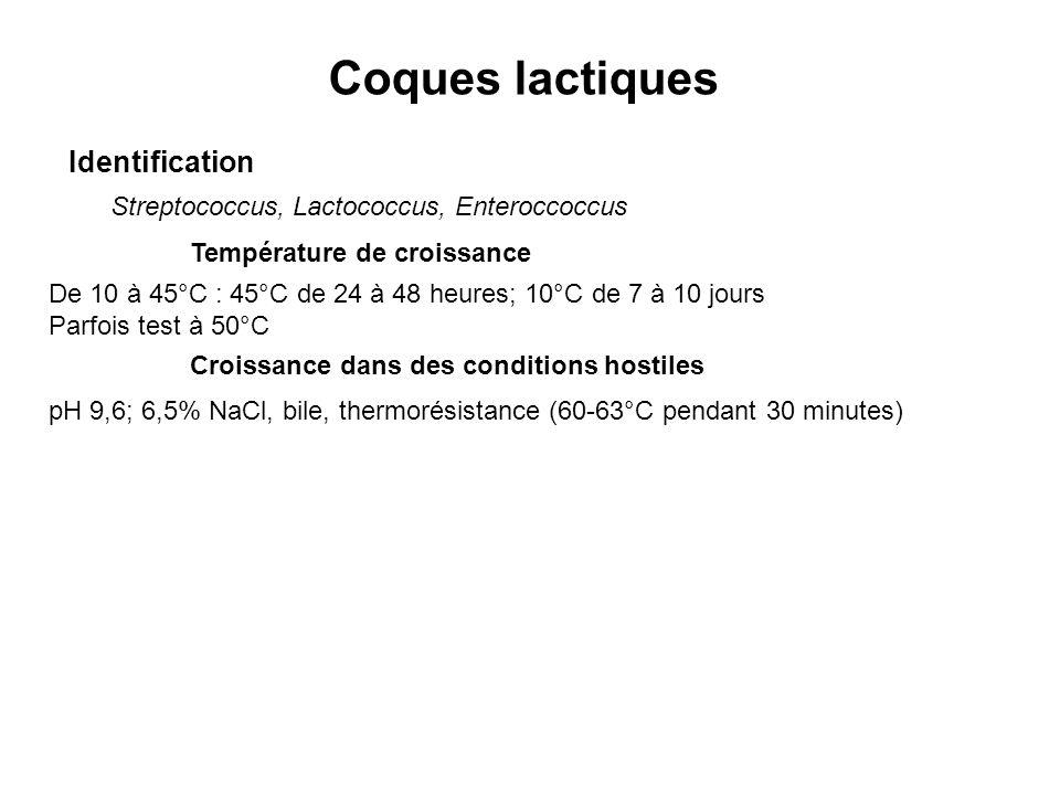 Coques lactiques Identification Streptococcus, Lactococcus, Enteroccoccus Température de croissance De 10 à 45°C : 45°C de 24 à 48 heures; 10°C de 7 à